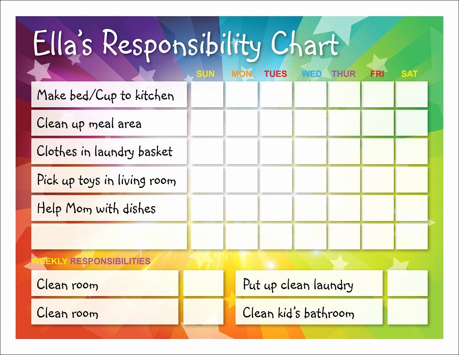 Child chore chart template in 2020 responsibility chart