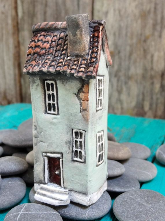 Miniature Old French house OOAK ceramic by theCherryHeart on Etsy