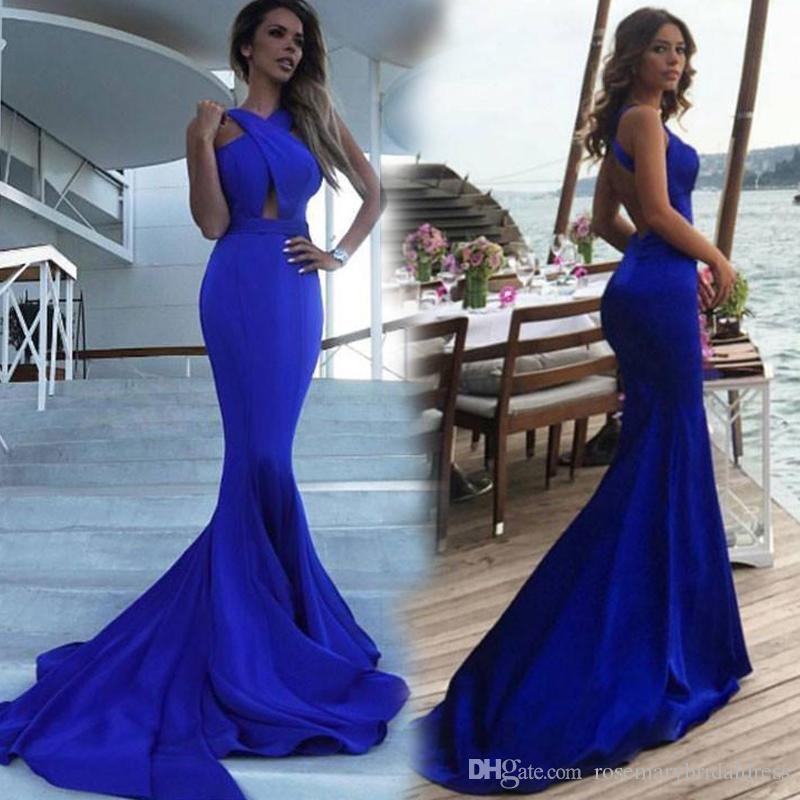 Royal Blue Mermaid Prom Dresses Sexy V-Neck Long Evening Dresses ...