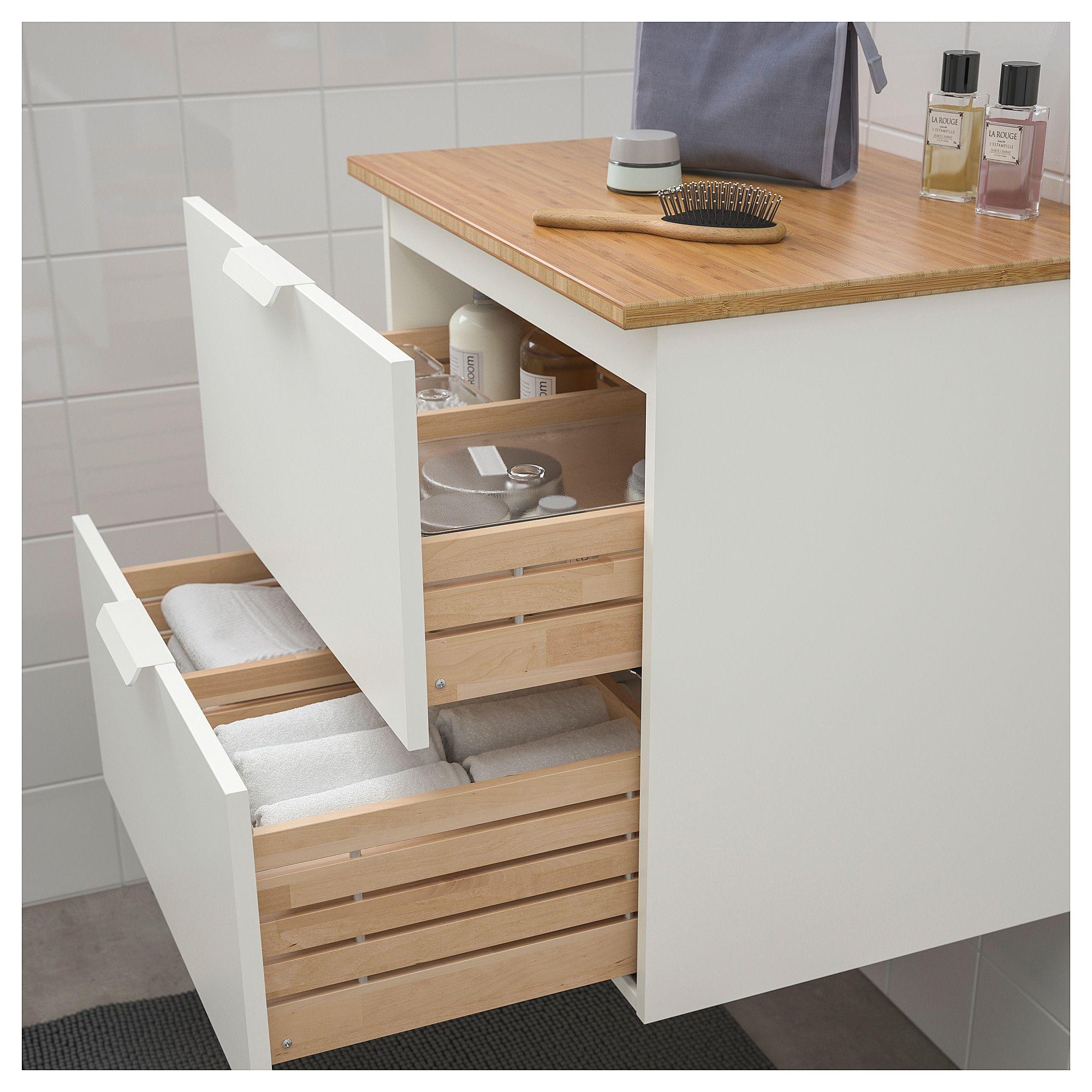 Plan De Travail Ikea Bois Massif godmorgon / tolken bathroom vanity - white, bamboo | meuble