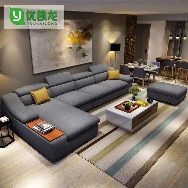 mobili soggiorno moderno divano ad angolo tessuto ...