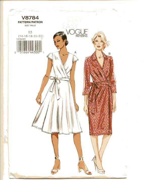 Vogue V8784 Easy Wrap Dress Pattern Flared By Violetcrownemporium