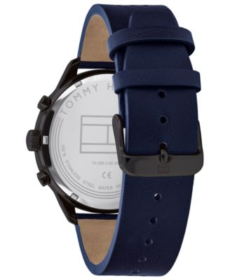d6a93a67 Tommy Hilfiger Men's Navy Leather Strap Watch 44mm Created For ...