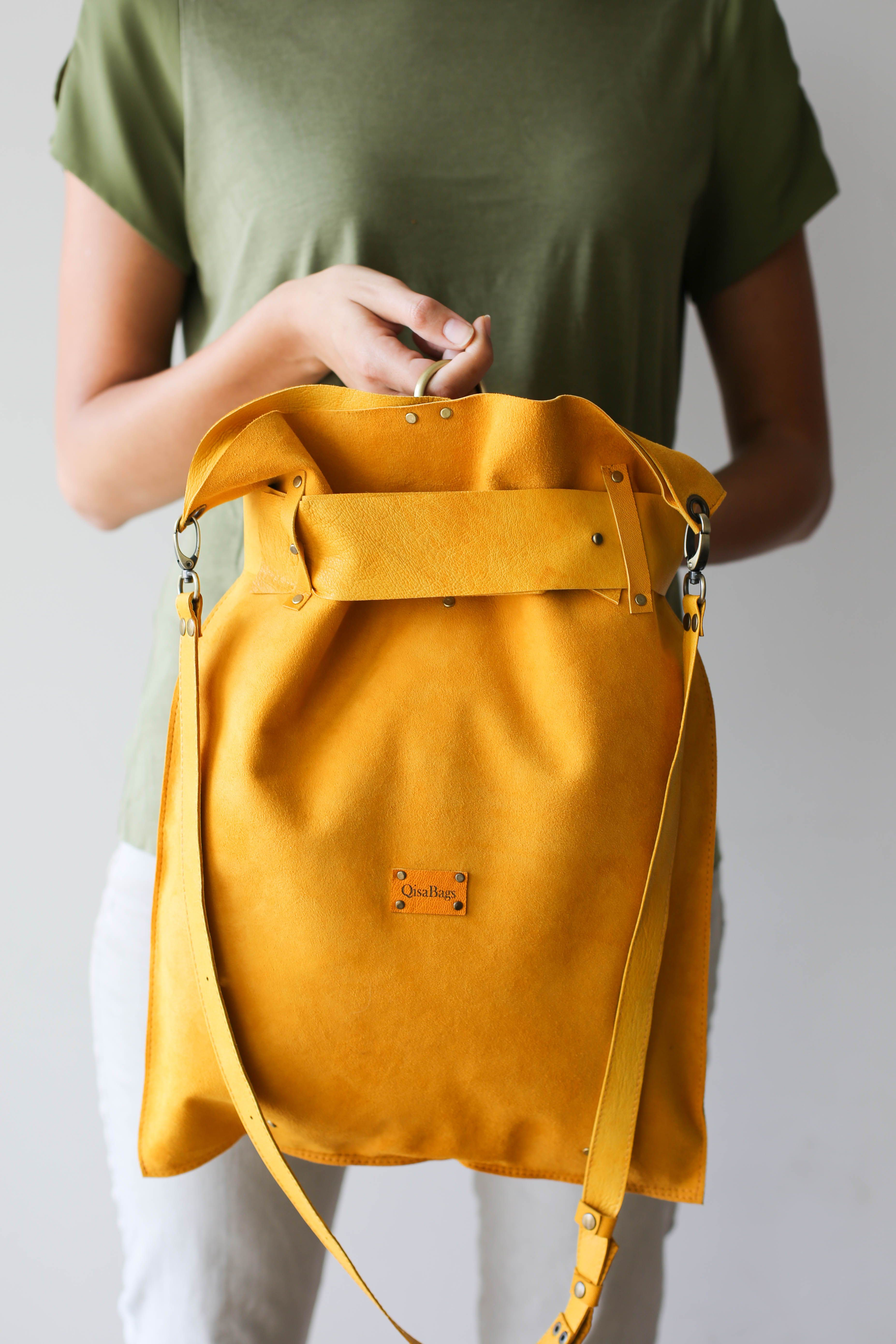 1ad117b2d7 Leather Backpack Women, Large Leather Backpack, Laptop Backpack, Womens  Backpack, Travel Backpack Women, Leather Rucksack, Yellow backpack, Yellow  Bag, ...