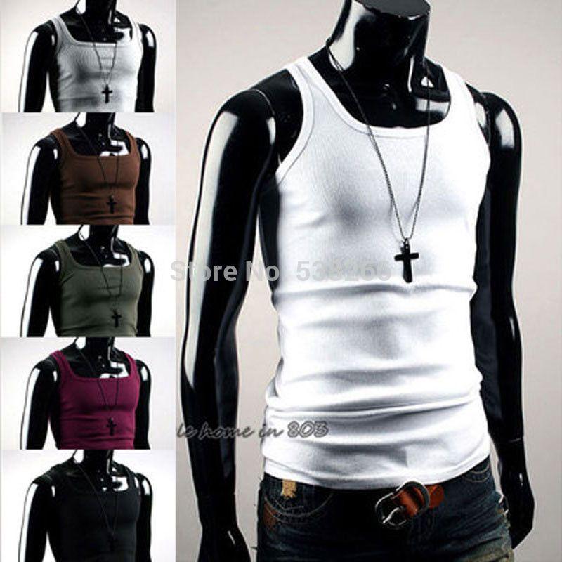 5c475f6337 New Sexy Mens Slim Fit Plain Basic Tank Tops Singlet Sleeveless T-shirts