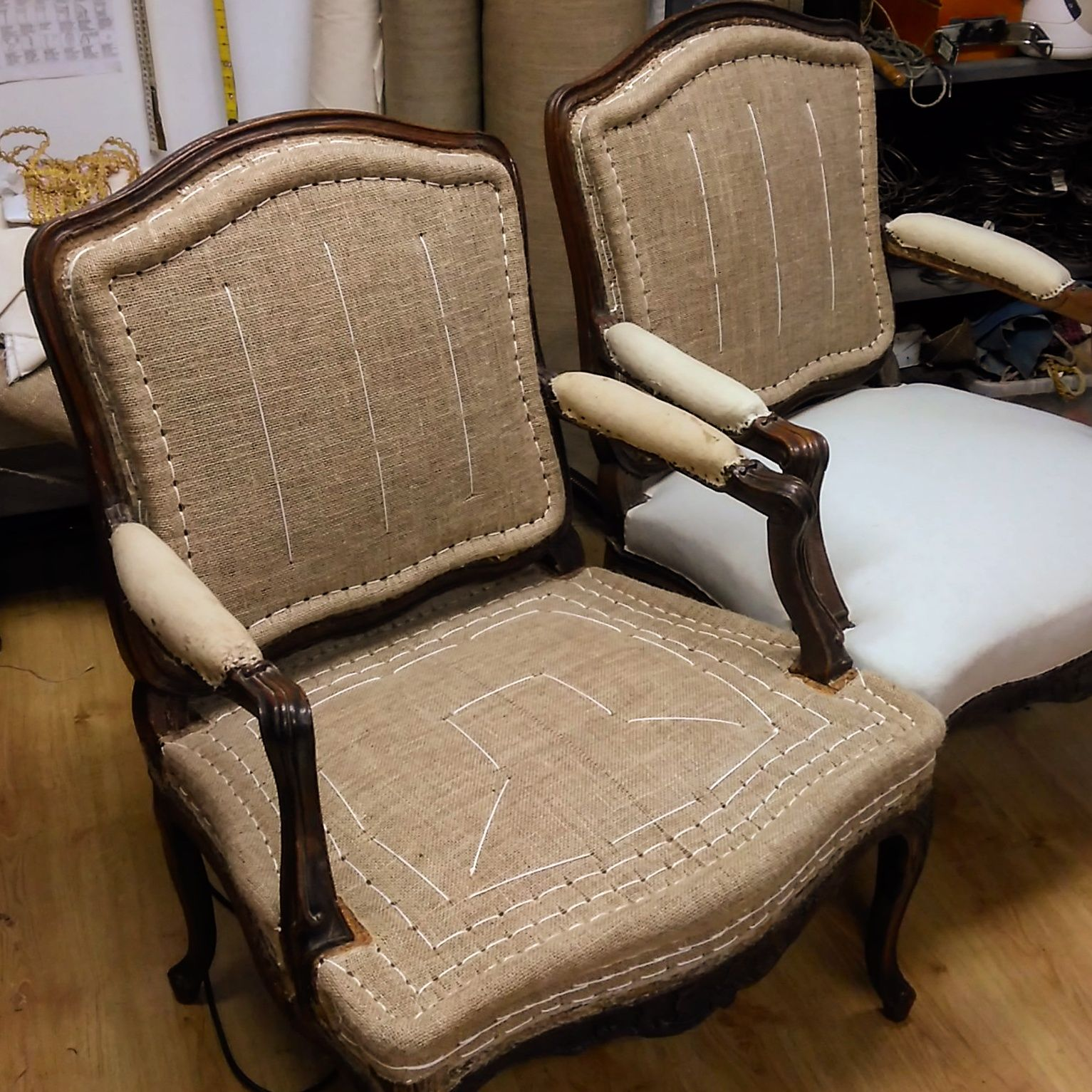 French Stitching On Fauteui A La Reine Louis Xv Style Upholstered Chairs Fabric Upholstery Reupholster Furniture