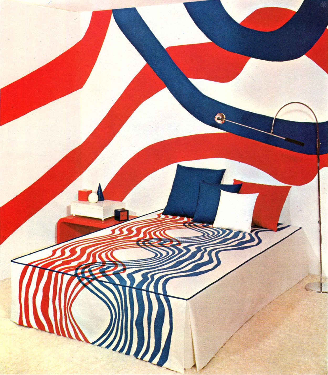 sharp groovy white bedroom inspiration furniture | Groovy Red, White and Blue Bedroom. From McCall's 1969 ...