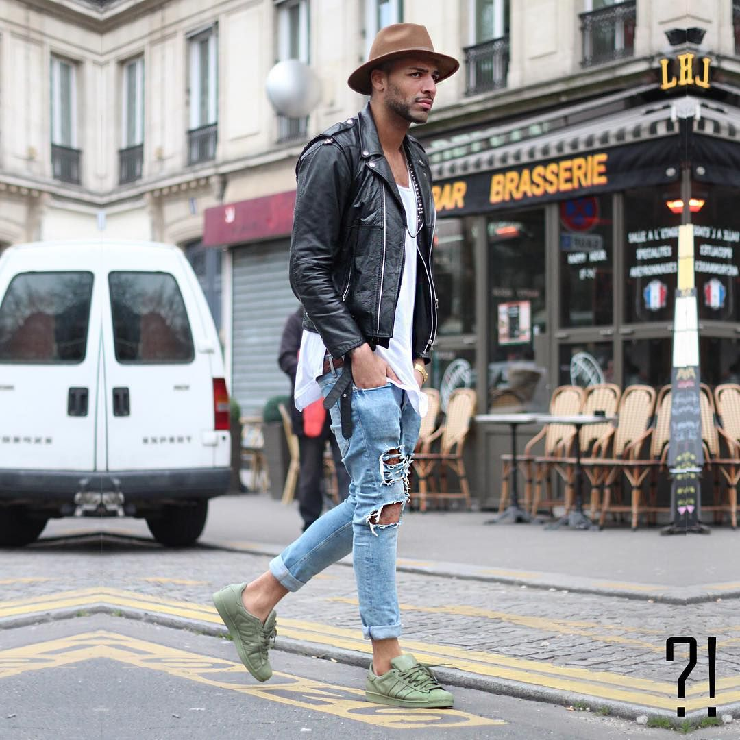 Adidas shirt design your own - Create Your Own Vibes Stephane Wearing Military Green Adidas Superstar Ripped Jeans