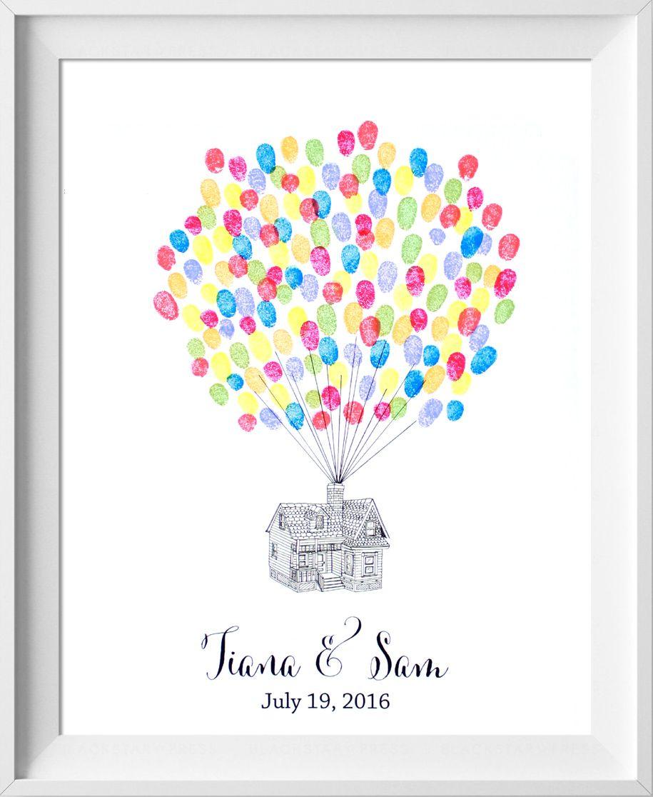 Wedding Guest Book Up House Fingerprint Guest Book For Etsy Disney Up Wedding Diy Guest Book Fingerprint Guestbook