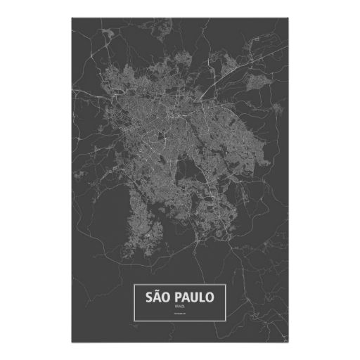Sao Paulo, Brazil (white on black) Posters