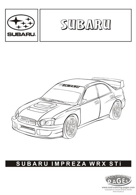 Subaru impreza wrx sti cars coloring pages