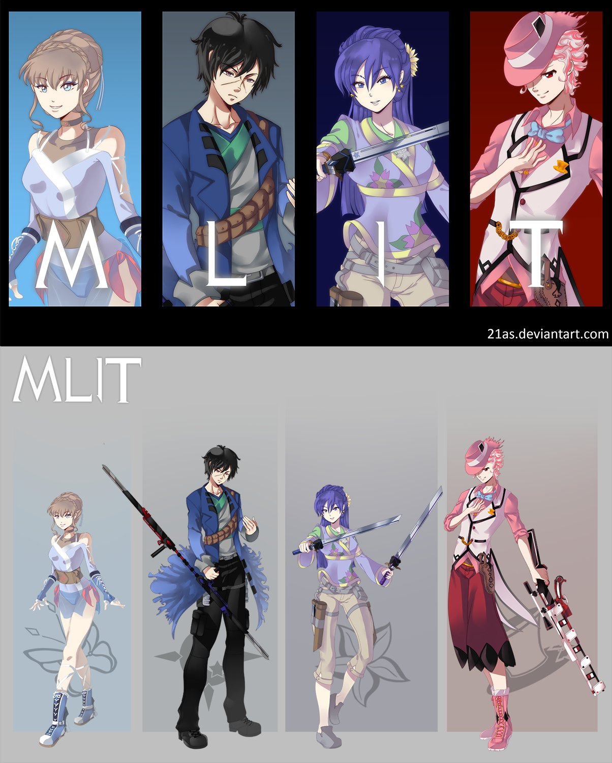RWBY OC Commission: Team MLIT by 21as on DeviantArt << these