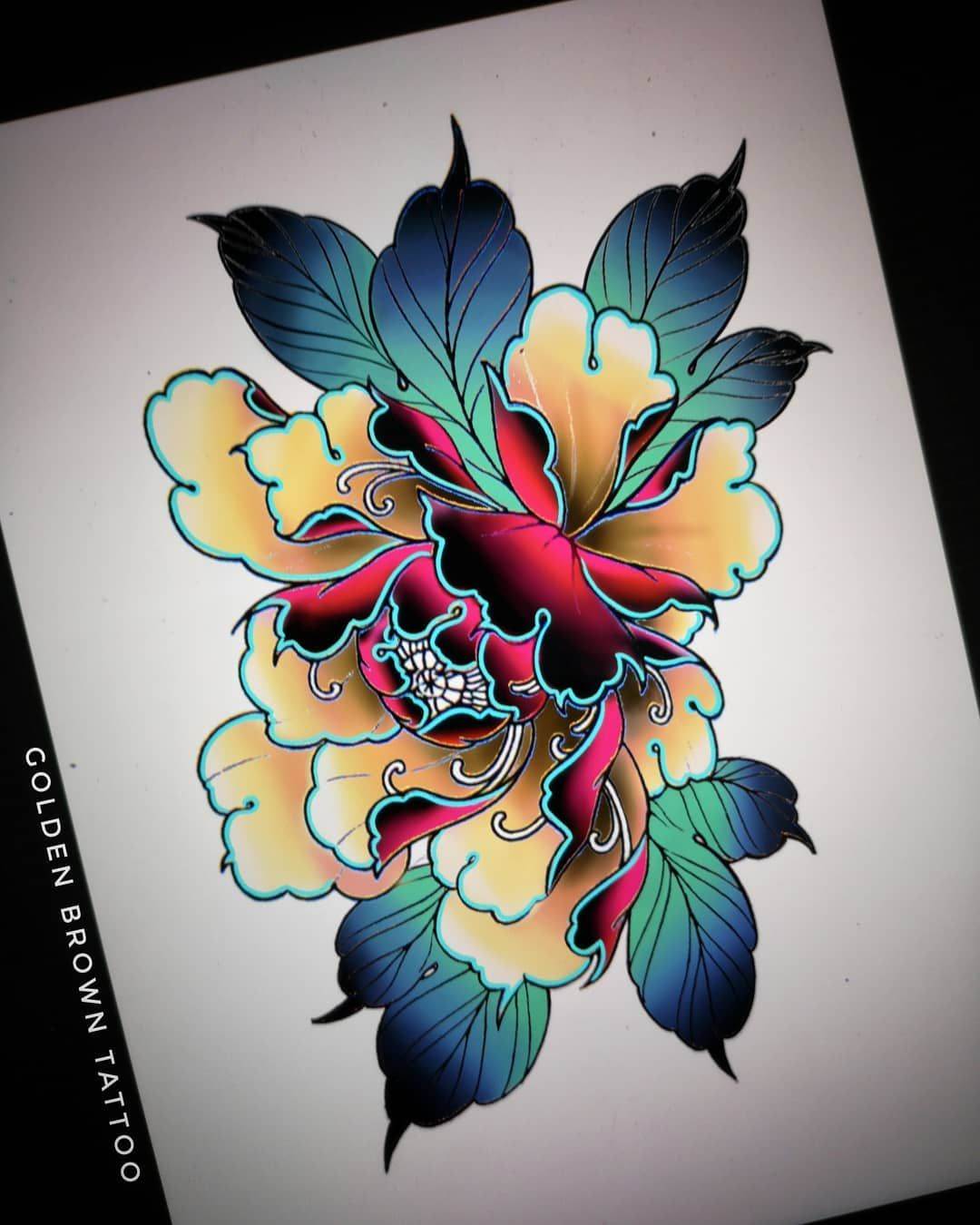 Golden Brown Tattoo On Instagram Available Dispo Pour Tattoo Peonytattoo Japanesetattoo Ire In 2020 Japanese Flower Tattoo Japanese Tattoo Japanese Tattoo Art