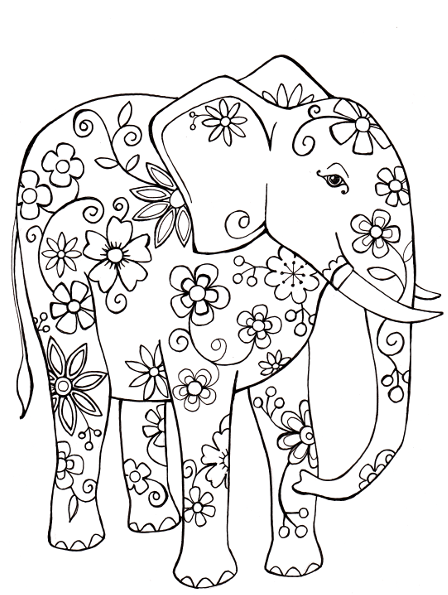Free Coloring Page Elephant Taken