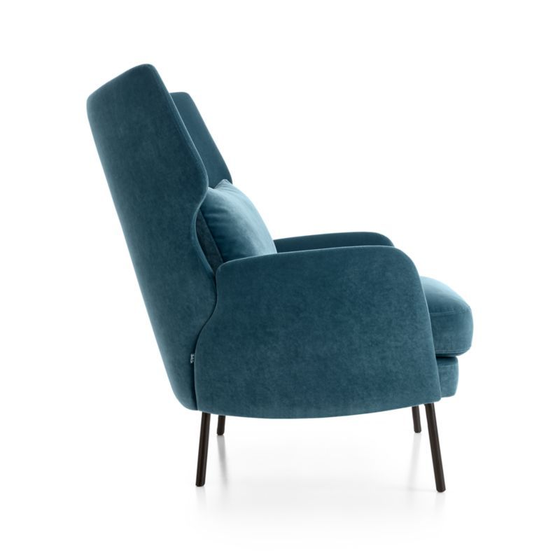 Alex Navy Blue Velvet Accent Chair Reviews Crate And Barrel In