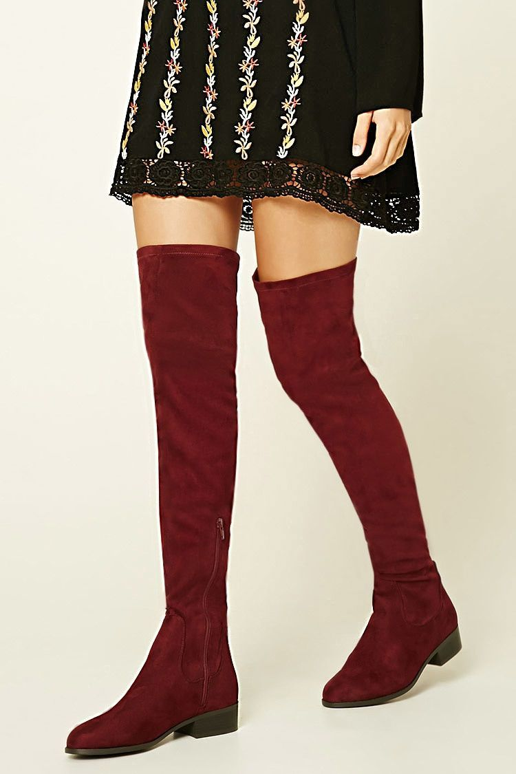 d82a8c6368d Faux Suede Over-The-Knee Boots