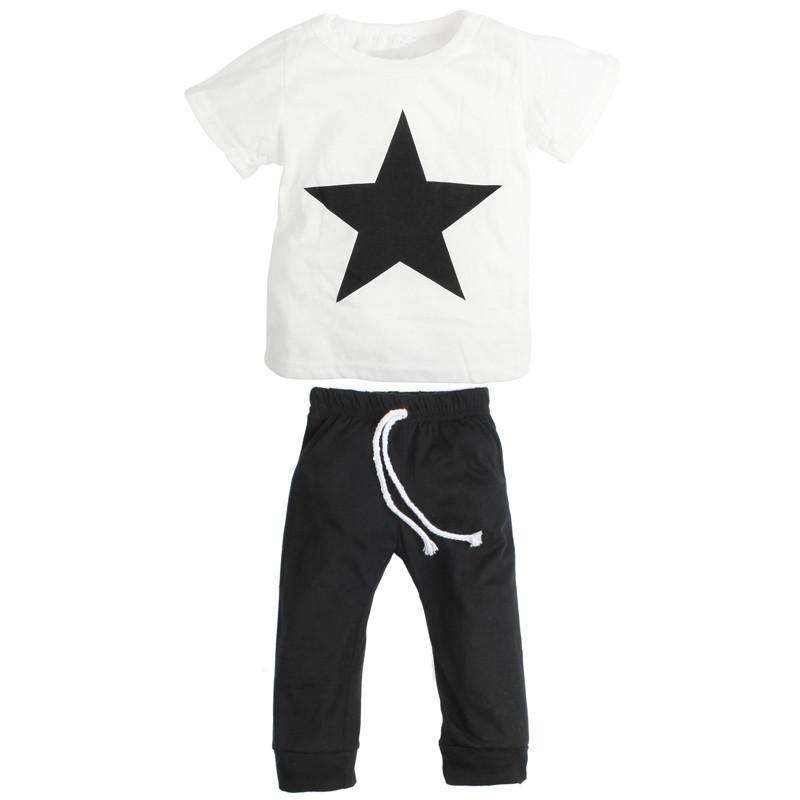 fff95ebe0 Spring/Summer Casual Baby Boys Clothing Set with Printed Shortsleeve T Shirt  and Long Sweatpants. Star Boy
