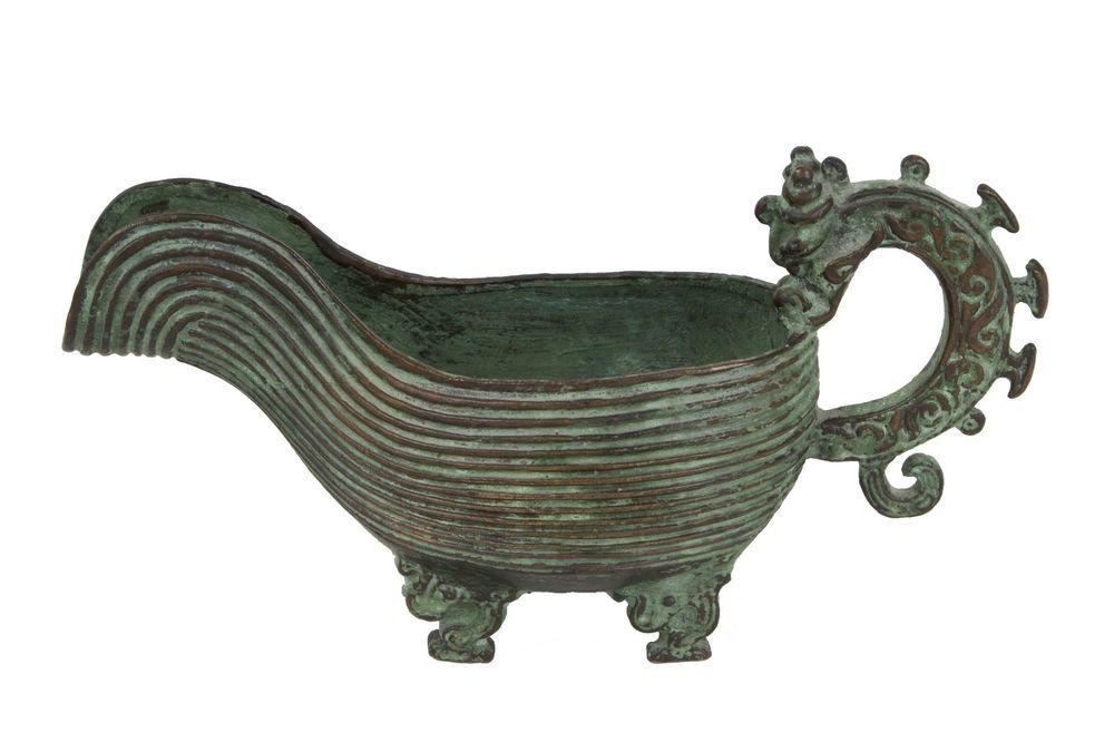 China 19 Jh Ritual A Chinese Bronze Yi Libation Vessel Qing Chinois Cinese Ebay Chinese Ritual