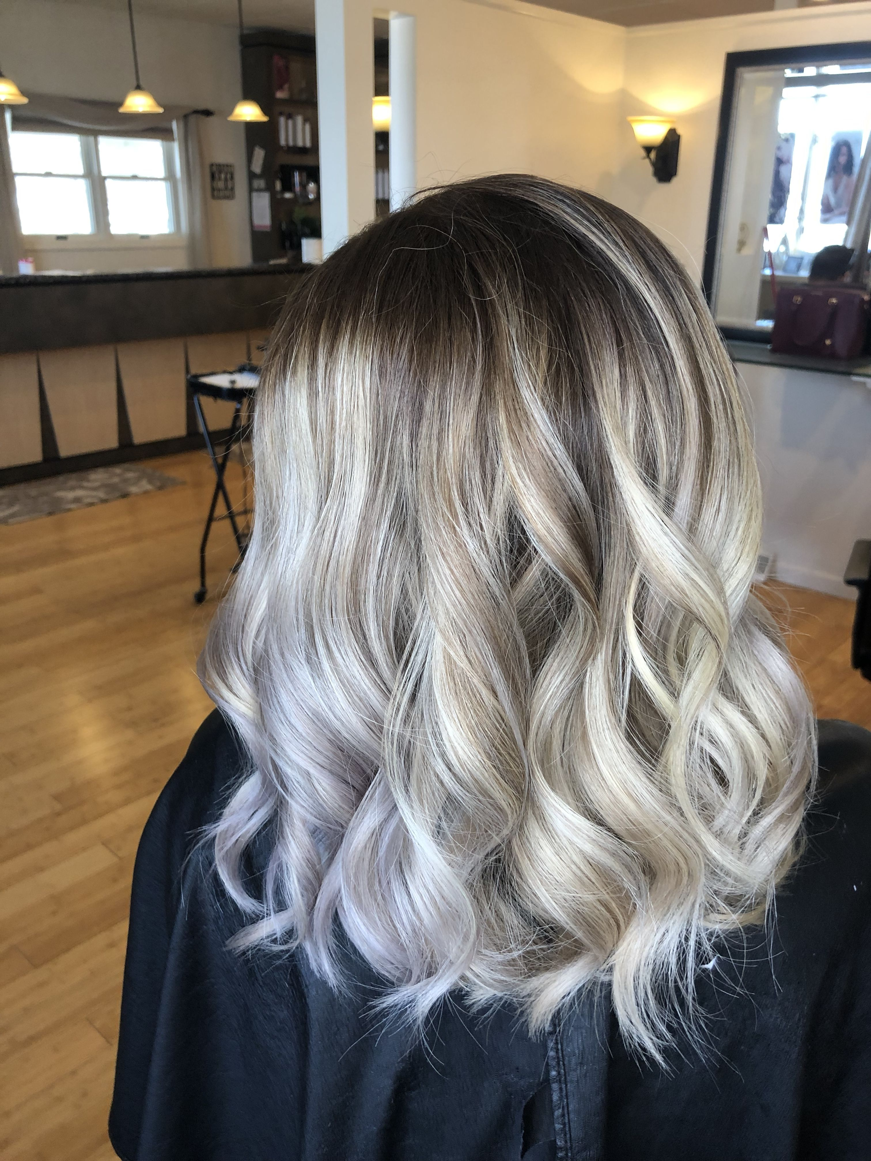 Icy Blonde Balayage With A Dark Root Icy Blonde Balayage