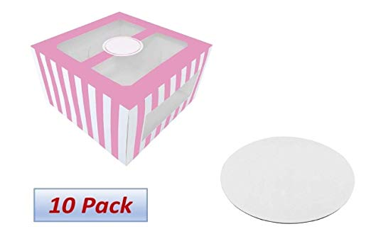 Amazon Com Confection Protection Cardboard Cake Boxes 10 X 10 X 6 Inch Tall Cake Box Set With Cake Boards Bakery Carrier Con In 2020 Box Cake Confection Tall Cakes