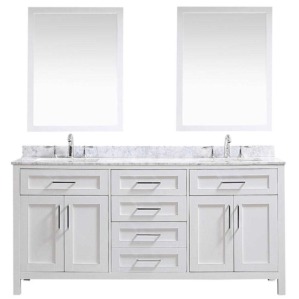 Ove Decors Ove Tahoe 72 In W Vanity In White With Carrara Marble