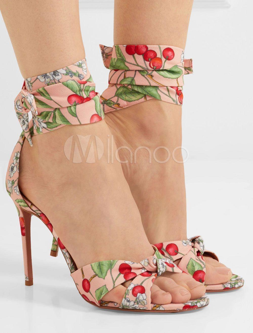 c2c216495363 High Heel Sandals Plus Size Flesh Open Toe Cherry Printed Ankle Strap  Sandals Lace Up Sandal Shoes
