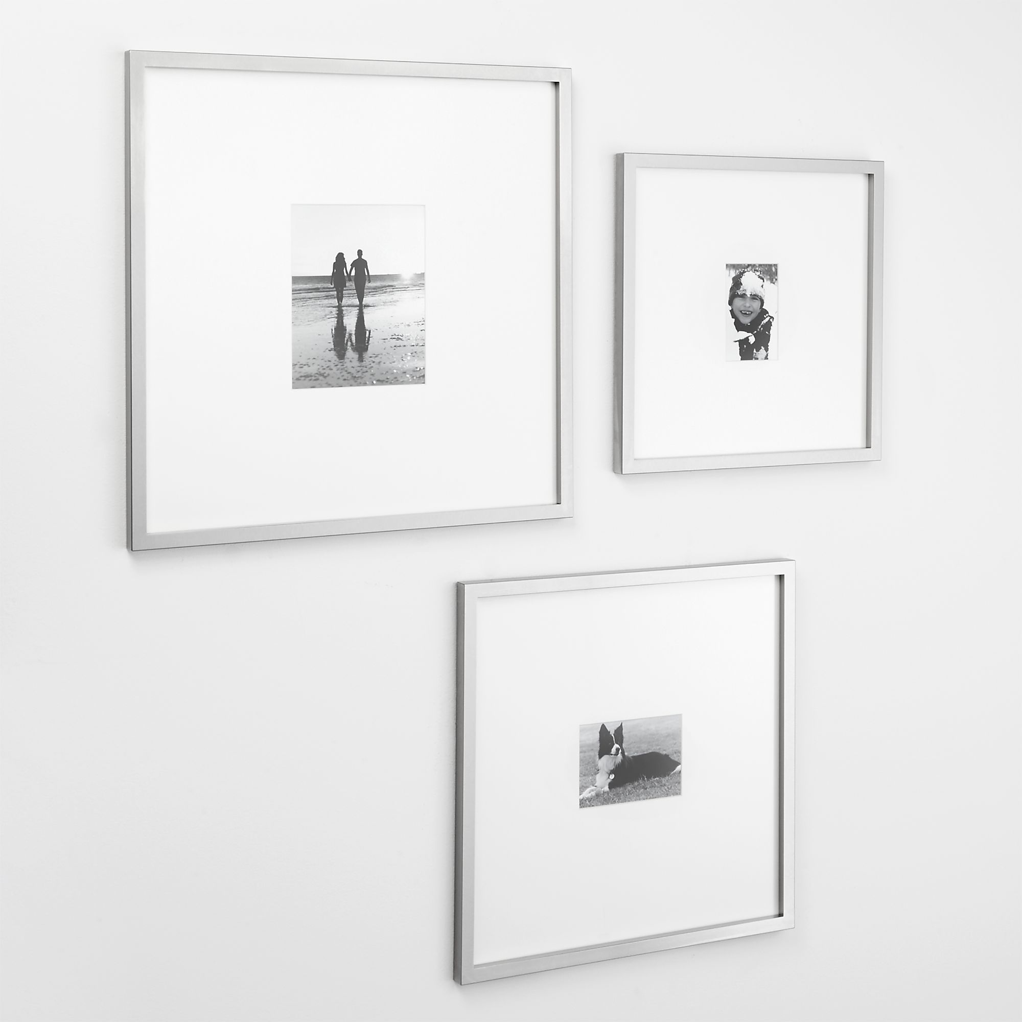 Brushed Silver Gallery Frames  | Crate and Barrel $40-$70