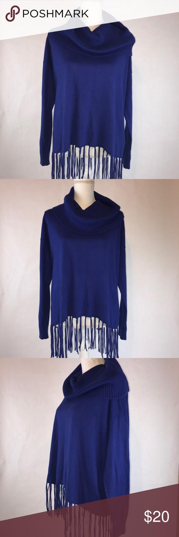 Michael Kors Royal Blue Fringe Cowl Neck Sweater