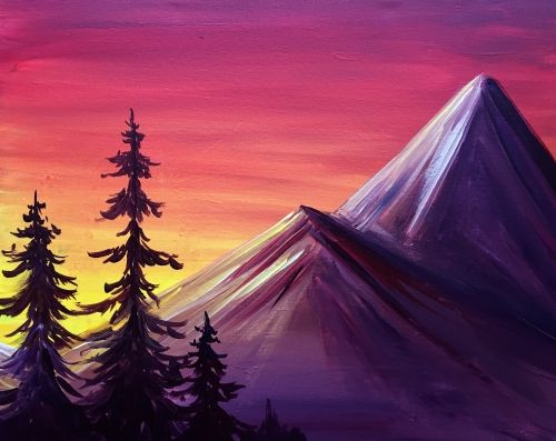 Hey Check Out Mountains At Sunset At Parktown Pizza Company Paint Nite Mountain Painting Canvas Mountains Art Painting Sunset Canvas Painting