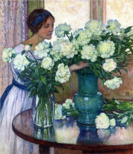 """""""White peonies"""", 1913, Theo van Rysselberghe, 1862-1926, Belgischer Maler"""