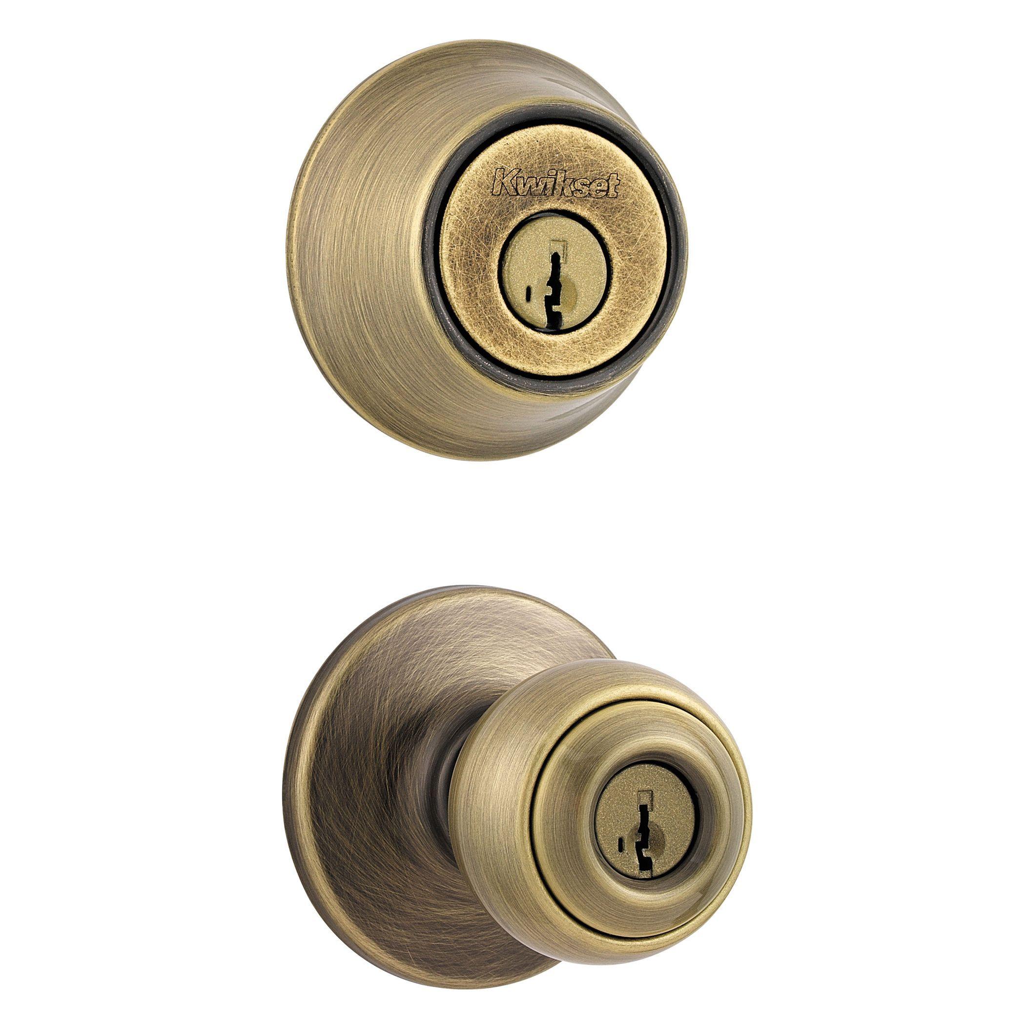 Merveilleux Kwikset 96900 251 Antique Brass 690P5CP K6 Entry Door Knob U0026 Deadbolt Combo
