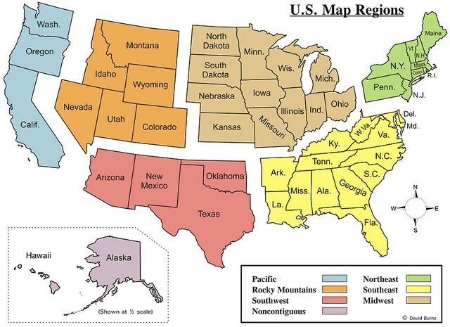 Regions of the United States | States, capitals, U.s. states ...