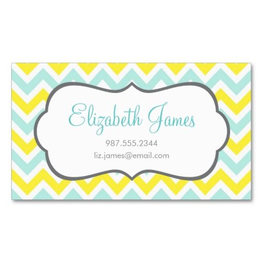 Mint and Yellow Colorful Chevron Stripes Business Card Template ...