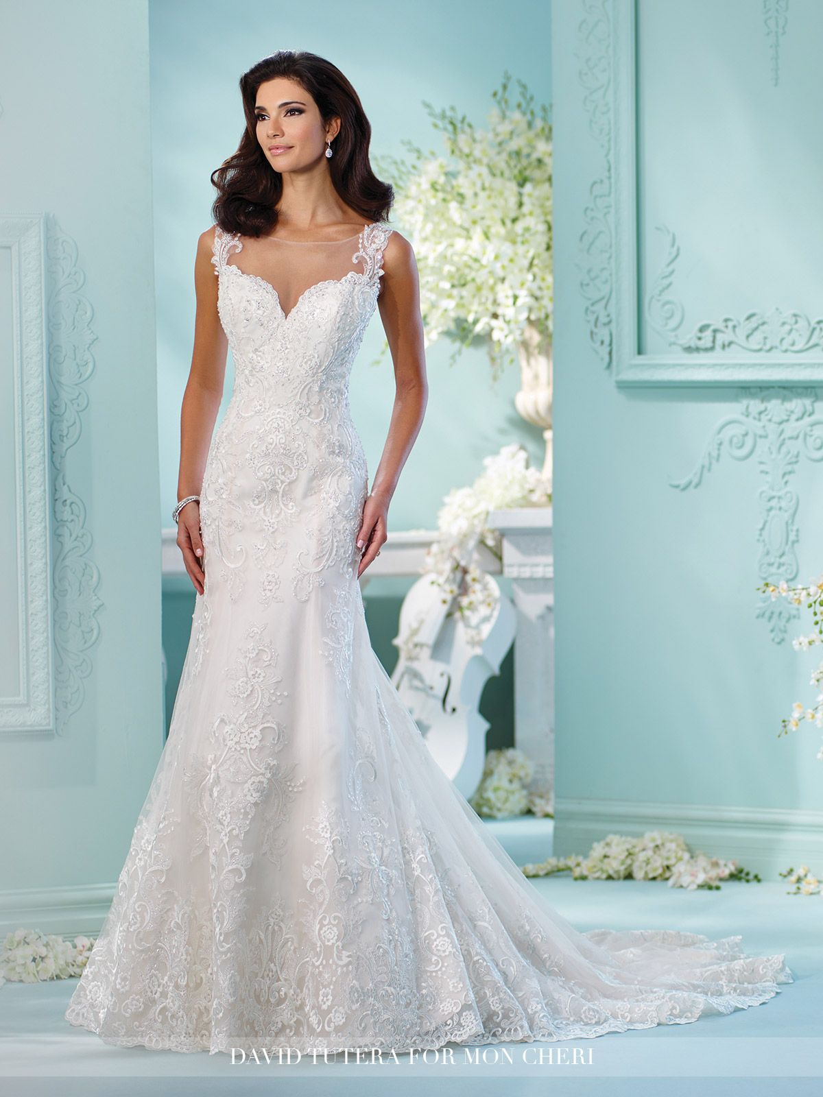 Lace Tulle Over Satin Fit & Flare Wedding Dress- 216256 Linna ...