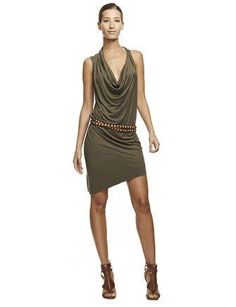 HAUTE HIPPIE Asymmetrical Cowl Dress