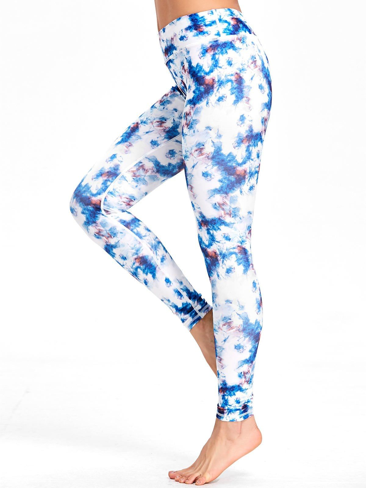 Tie Dyed Printed High Waisted Workout Leggings Workout