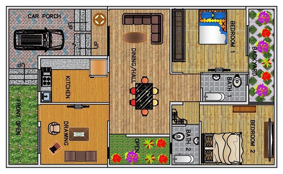 2 Bhk Floor Plan For 30 X 50 Feet Plot 1500 Square Feet Floor Plans House With Porch Square Feet