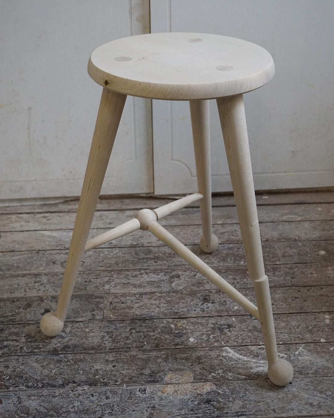 Finished Bleached Maple Ball Foot Stool 12 Seat X 21 High