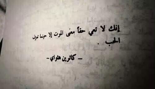 إنك لا تعي حق ا معنى الموت إلا حينما تعرف الحب كاترين هثواي Romantic Quotes Arabic Quotes Quotes