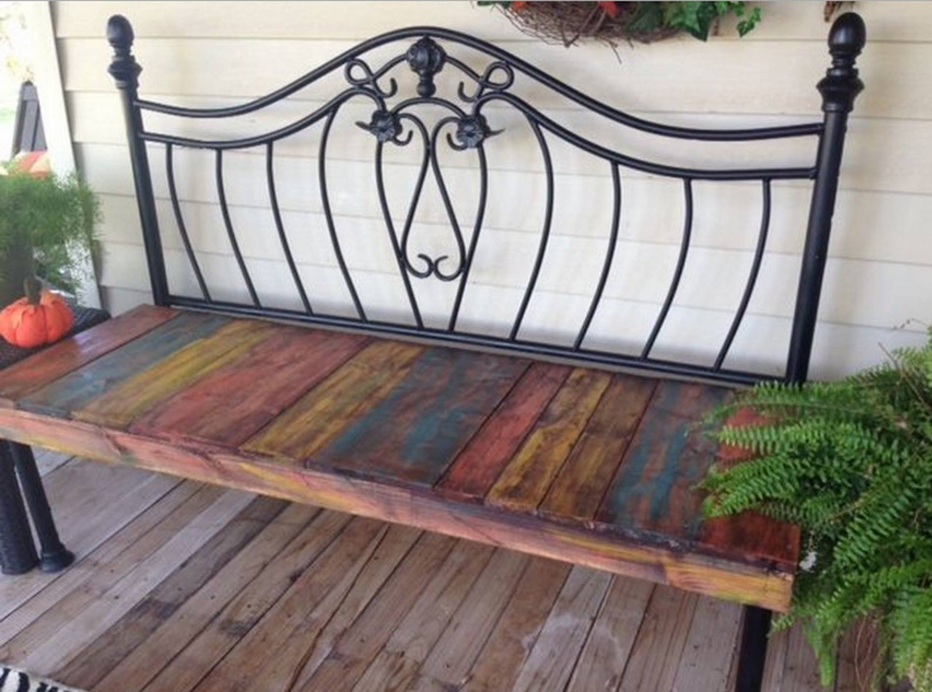 Victorianstyle day bed from a headboard and reclaimed