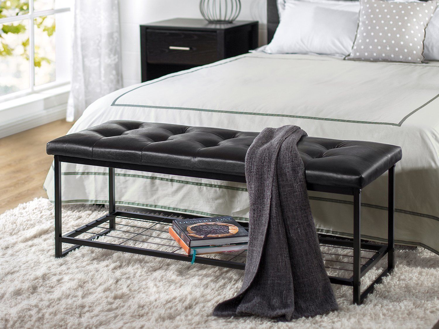 Entryway Storage Bench Bed End Seat Modern Bedroom Furniture Faux