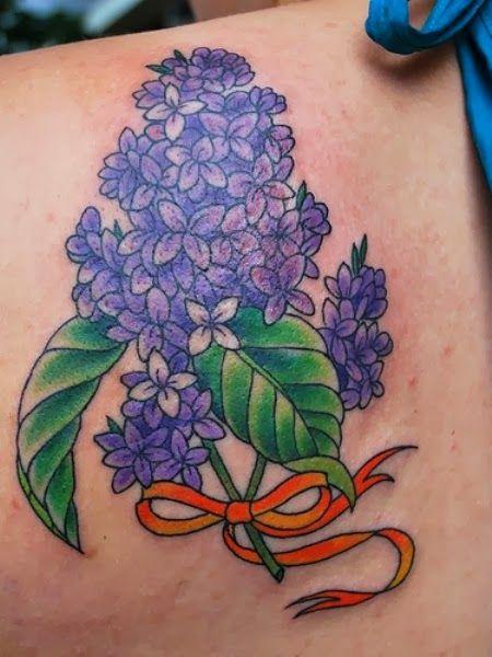 Purple Lilac Flower Tattoo Lilac Tattoo Floral Tattoo Ribbon Tattoos