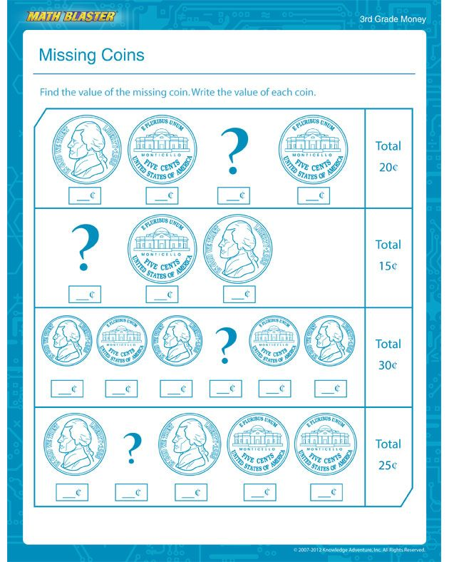 Missing Coins - Free Math Worksheet for 3rd Grade 2nd- enrichment ...