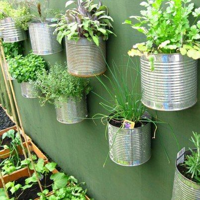 Vertical gardening with food storage cans