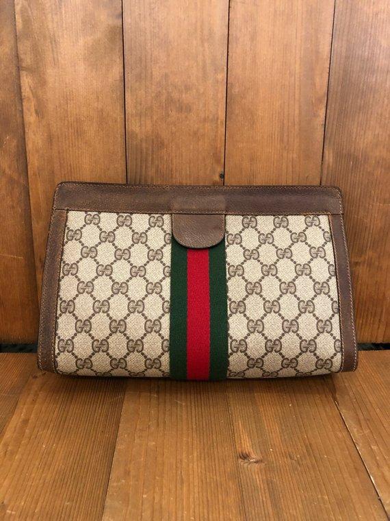 c473b6b17020 Vintage GUCCI Web Brown GG Monogram Clutch Bag | Products in 2019 ...