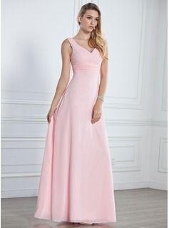A-Line/Princess V-neck Floor-Length Chiffon Bridesmaid Dress With Ruffle (007001785) - JJsHouse