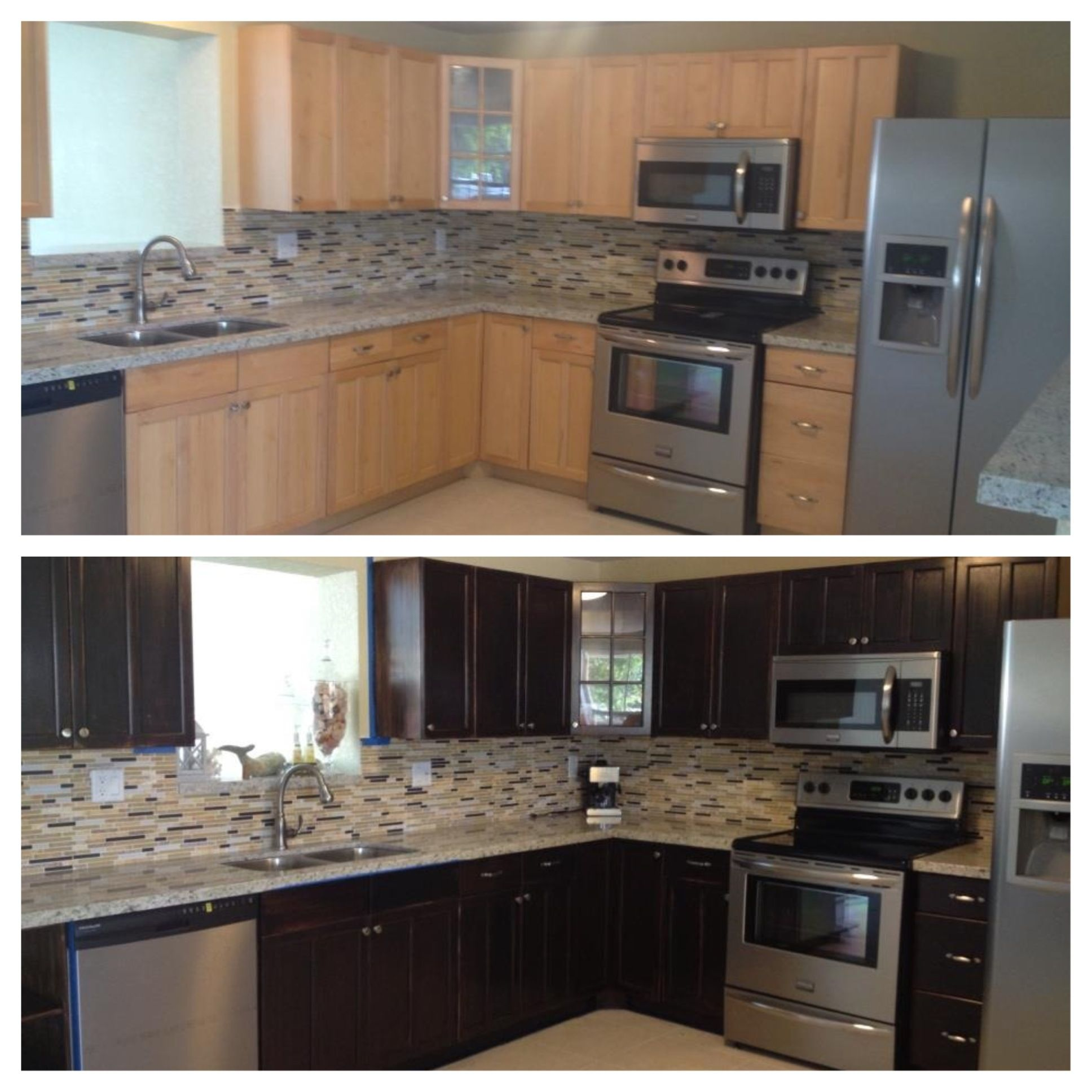 My Kitchen Before After Using Wood Stain Stained Kitchen Cabinets Staining Cabinets Stain Kitchen Cabinets Dark
