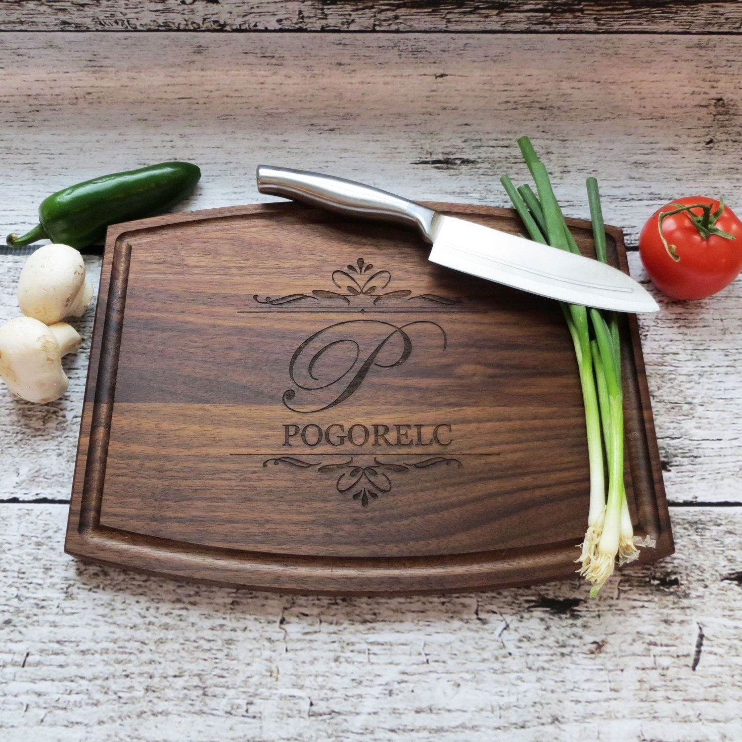 Personalized Cutting Board - Walnut - Anniversary - House Warming -Custom Wedding Gift - Unique Gift - Realtor gifts
