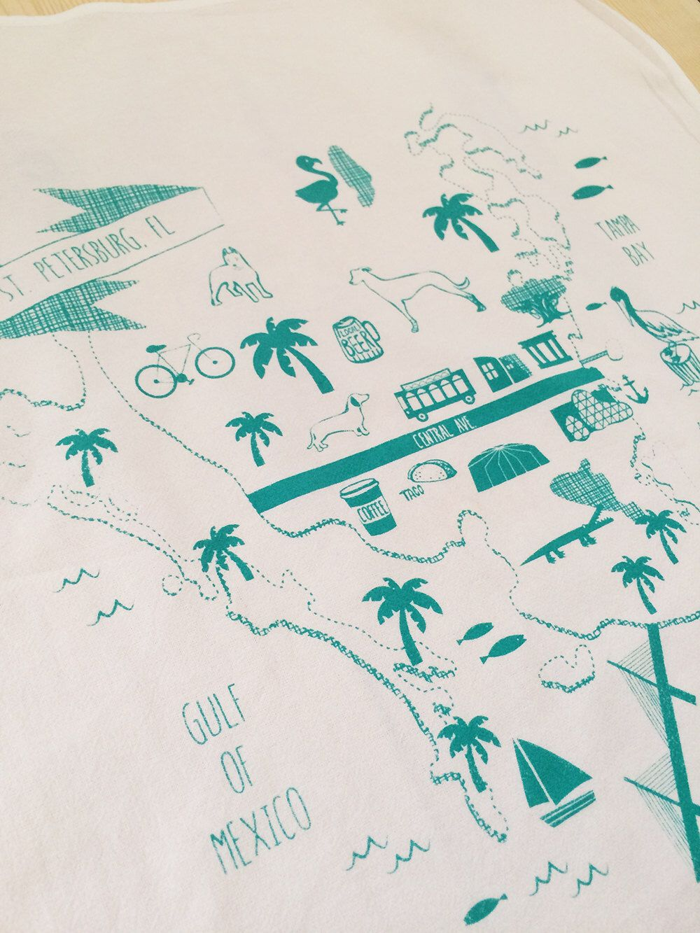 Map of St. Petersburg St Pete Florida Hand Screen Printed Organic ...
