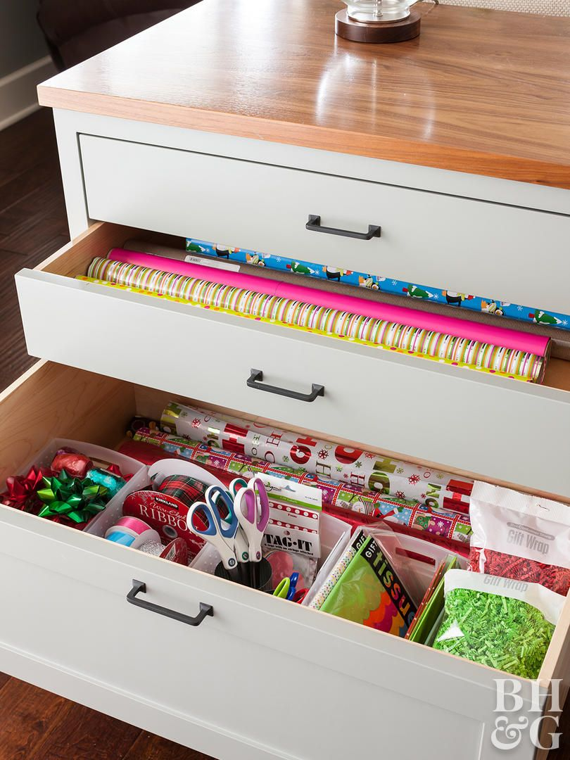 Get Inspired By This Home S Clever Built In Storage Ideas Craft Storage Drawers Gift Wrap Storage Room Storage Diy